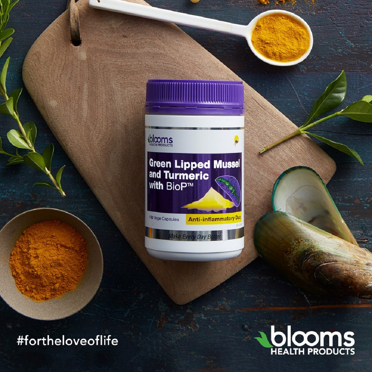 Blooms Green Lipped Mussel 500mg Turmeric with BioP 100vc_media-02